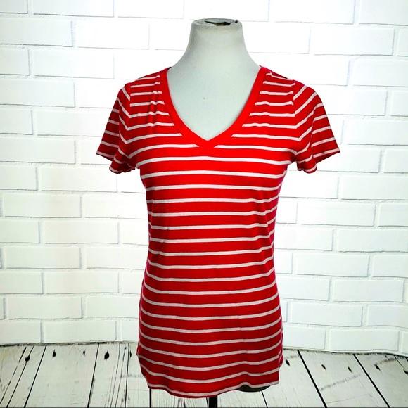 10/$25🦋Merona Coral & White Stripe V-Neck Tee - M